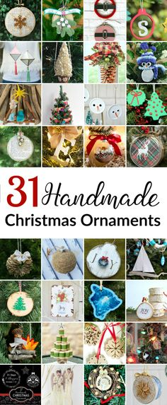 31 Handmade Christmas Ornaments - great DIY homemade ornament tutorials!!! You'll find Rustic, Glass, Paper, Fabric and more in these creative ornament ideas