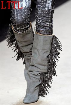 99.23$  Buy now - http://aliaph.worldwells.pw/go.php?t=32748244217 - Hot Selling Leather or Suede Fringe Wedge Boots Fashion Show Tassel Shoes Woman Fall Knee High Boots Women Top Quality Boots 99.23$