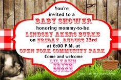 Country fair or picnic baby shower themed invitation in a 4x6 contact me via email at aswiney01@yahoo.com to order this invitation customized for you for only $10. Click photo to visit my facebook page to see other designs.