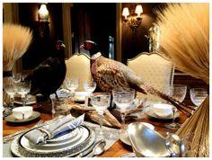 #LifestyleInspirator for decor. #taxidermy #pheasants #centerpiece ~ Thanksgiving tablescape ideas http://modelbehaviors.com/8-stylish-ways-to-create-a-fun-tablescape-this-thanksgiving/