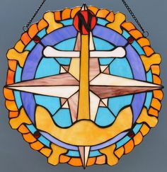 Connecting stain glass together chain | Anchor, Ship's Wheel, Compass Rose Stained Glass