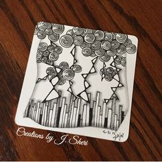 Square One || Zentangle Patterns: Rain (focus tangle), Printemps and BB || Creations by J. Sheri