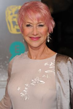 Helen Mirren pink hair--how amazing is this woman?  She is my hero.  I want to be as free-spirited as she is when I'm her age . . .celebrate it people!