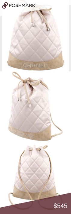 """Chanel quilted backpack Pink ivory satin chanel backpack with silver tone hardware, beige suede accents throughout, dual flat shoulder straps, ivory satin lining, single slit pocket at interior wall and drawstring closure at top. Serial number reads 6646854 Measurements: shoulder strap length- 36.5 inches Height- 11.5"""" Width- 9.5"""" Depth- 2"""" CHANEL Bags Backpacks"""