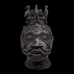 "Bronze Head for the Worship of Osun  Benin Empire, 18th century  The British Museum  ""Osun is one of a number of deities worshipped in Benin. His power lies in plants of the forests. Magical specialists, or ebo, use herbs and plants to create magical or medicinal potions."