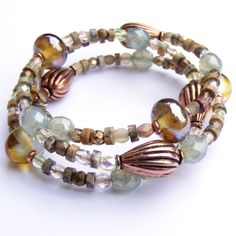 Jewellery handmade by Sue Doran of Sooz Jewels memory wire bracelet made with copper, lampwork beads and Czech glass