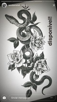 Blackwork snake and flowers by thigh tattoo designs, old school tattoo designs, Wolf Tattoos, Animal Tattoos, Leg Tattoos, Body Art Tattoos, Sleeve Tattoos, Tattoo Drawings, Tattoo Thigh, Tatoos, Snake And Flowers Tattoo