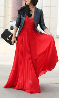 Pleated red gown