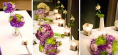 purple and green bridesmaid's bouquets