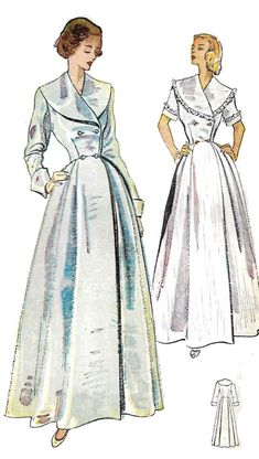"1950's Vintage Sewing Pattern Women's Dressing Gown Robe Housecoat Bust 36"" #Simplicity"