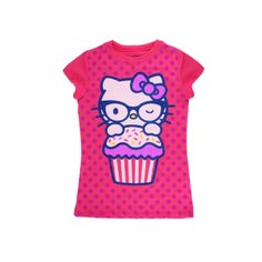 Girls Youth Hello Kitty Cupcake Tee - Fuchsia