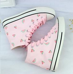 www.sanrense.com - Lovely pink hand painted high help canvas shoes