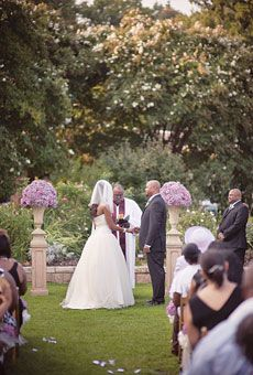 Garden inspired wedding - wedding ceremony decor took place on lawn of a rose garden