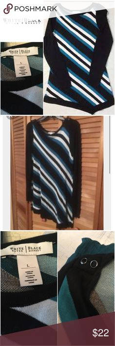 """WHBM Turquoise White & Black Striped Sweater White House Black Market Turquoise, Black & White Striped Sweater. Only worn twice. Like new. Large. Stretch. Will post more photos soon!   Size Large  Bust: 40"""" Waist: 32.5"""" Stretch    Originally bought for a client, I'm currently cleaning out my client closets. Open to offers, especially on bundles. I give 15% off bundles of 3+. Shipping cost is the same with one or multiple items.   Free gift with every purchase! Your purchase goes towards the…"""