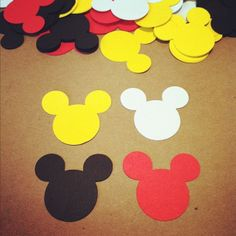 120 Mickey Mouse Die Cuts 1.5  Red Black Yellow by ktbluecreations, $4.00