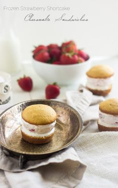 Skinny Frozen Cheesecake Strawberry Shortcake Sandwiches - SO good and perfect for Valentines Day! | Foodfaithfitness.com | #recipe