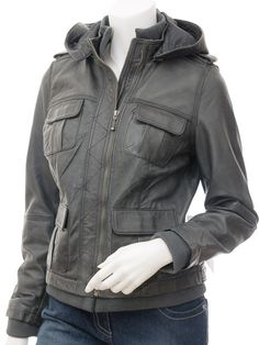 Ladies leather hooded bomber jacket – New Fashion Photo Blog