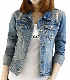 066b646bed73f XTX Womens Plus Size Vintage Long Sleeve Classic Denim Jackets Blue XXLarge   gt  gt