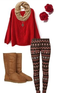 winter outfits christmas Fall/Winter Outfit Inspiration, Gotta have it, make patterns work (minus the uggs) Fashion Moda, Look Fashion, Teen Fashion, Fashion Outfits, Womens Fashion, Fashion Trends, Fashion Sites, Cheap Fashion, Fall Fashion