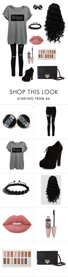 """""""Nope"""" by an-internet-girl ❤ liked on Polyvore featuring Miss Selfridge, New Look, Shamballa Jewels, Lime Crime, Maybelline, Jimmy Choo, casual, black, grey and nope"""