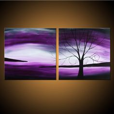Twilight Dreaming -- Custom Painting -- Purple Tree Landscape on Two Stretched Canvases. $159.00, via Etsy.