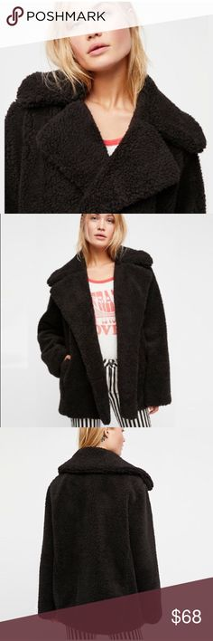 """Plush Faux Fur Teddy COAT Jacket Black Ivory BRAND NEW!! So soft plush coat featuring an effortless shape perfect for staying cozy all season long. 3 hidden snap buttons.   • Front pockets  S: Bust: 44.5""""/Length: 31.4"""" M: Bust: 46.5""""/Length: 31.8"""" L: Bust: 48.4""""/Length: 32.2"""" XL: Bust: 49.8""""/Length: 32.6""""  🌟🌟Item is Brand New, direct from the Manufacturer, & Sealed in Pkg. 🌟🌟 Jackets & Coats"""