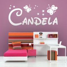 Vinilos decorativos para paredes con mariposas, estrellitas y el nombre Candela