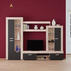 Σύνθεση TV 270x42x203 με 6 πόρτες. Από την Alphab2b.gr Kos, Bookcase, The Unit, Shelves, Entertaining, Living Room, Furniture, Home Decor, Shelving