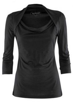 58e69c62900 Trendy Three Quarter Sleeve Cowl Neck Black T Shirt Plus Size T Shirts
