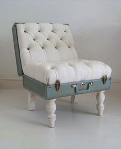 cool button tufted chair DIY from an old vintage suitcase! pretty pastel colours off white and robins egg blue. check out more upcycled DIY ideas on http://theunexpectedchic.com