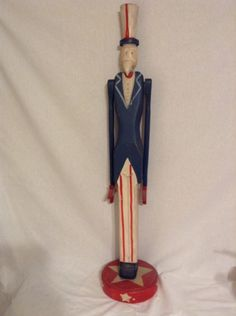 Primitive Folk Art Uncle Sam Statue Nearly 3ft Spinning Arms Patriotic Americana #Unbranded