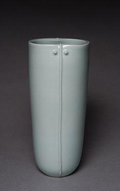 """Fukami Sueharu, Vase (c.2000) Porcelain with seihakuji glaze, 10.75"""" x 4.5"""""""
