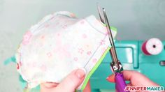 - Jennifer Maker - Clip the corners of your homemade face mask with scissors to reduce bulk - Easy Face Masks, Diy Face Mask, Diy Masque, Fabric Markers, Making Faces, Pocket Pattern, Homemade Face Masks, Maker, Sewing Techniques