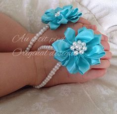 Baby barefoot sandals, blue baby flower sandals, girls, flower girl, newborn barefoot sandals  on Etsy, $17.99