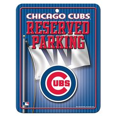 """Chicago Cubs 8.5"""" x 11"""" Metal """"Reserved Parking"""" Sign by Rico #Chicago #ChicagoCubs #Cubs"""