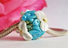 European Charm Bead, Large Hole Bead, Bead Charm  -  Vintage Series French Blue Rose Garden by Sabrina Koebel