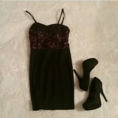 Black Laced Dress Looking for the perfect dress for a night out? This is the perfect dress! This dress is made to form to your body figure. It has two adjustable straps for the shoulders. The top is purple with black lace overlapping it. New without tags! Dresses Mini