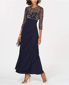 New Arrival ~ Betsy & Adam Petite Beaded Ruched Gown ~ Petite Size Section Mother Of The Bride Dresses Long, Mother Of Bride Outfits, Mothers Dresses, Long Mothers Dress, Petite Gowns, Mob Dresses, Tea Length Dresses, Gowns Online, Review Dresses