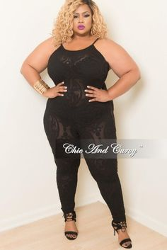5d574f8580bd33 50% Off Sale - Final Sale Plus Size Mesh Jumpsuit in Black