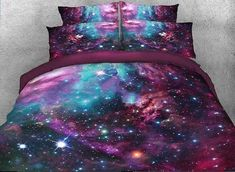 Ammybeddings Colorful Galaxy Bedding 4 Piece Purplish Red Outer Space Duvet Cover King Size Charming Galaxy Print Bedding Sets Twin, Soft Stylish Home Decor Duvet Cover Set (Twin, Color >>> Visit the image link more details. (This is an affiliate link)