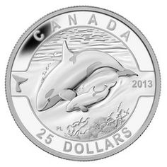 Royal Canadian Mint $25 2013 Fine Silver Coin - O Canada Series - Orca $89.95