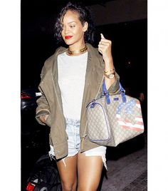 Our Favorite Denim Moments Throughout The Years via @WhoWhatWear - Rihanna We love the Rihanna pairs her Levi's cutoffs with spring must-haves, such as an army jacket and choker necklace.