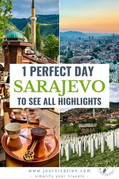Your ultimate travel guide with all a first-timer needs to know before visiting Sarajevo in Bosnia. If you have only little time, learn how to spend a perfect day incl the best things to do like exploring the old town, climb Yellow and White Fortress or drink Bosnian Coffee. Simplify your travel planning for this stunning ottoman / austro-hungarian city with maps & checklists. Learn about travel tips like Instagram photo spots, restaurants, hotels, activities off the beaten track #sarajevo Road Trip Europe, Europe Travel Guide, Amazing Destinations, Travel Destinations, Backpacking South America, Reisen In Europa, Ultimate Travel, Macedonia, Albania