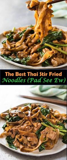 Delicious and healthy family choice special food and drink Thai Stir Fried Noodles (Pad See Ew) Pad See Ew (which means Stir Fried Soy Sa. Healthy Stir Fry, Healthy Meat Recipes, Asian Recipes, Crockpot Recipes, Sauce Recipes, Drink Recipes, Fast Recipes, Thai Recipes, Bread Recipes