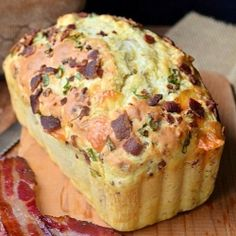 Soft and moist savory bread made with crispy bacon and white cheddar.