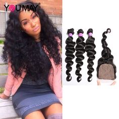7A Peruvian Loose Wave Silk Base Lace Closure With 3 Bundles Peruvian Virgin Hair With Silk Top Lace Closure Natural Hairline