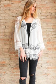 Angelette Lace Jacket - White - Glamour and Glow  - 1