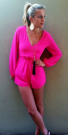 Hot Pink Romper  Cool websites where to buy? http://fancyoutlet.net , http://hautelook.com . like my pins? like my boards? follow me and I will follow you unconditionally and share you stuff if its pretty and cute :D http://www.pinterest.com/shopfancytemple/
