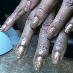 Mixed Gold Glitters & Bronze CND Additives Shellaced :-) love my job :-)