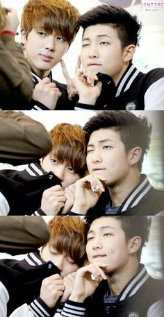 Image about kpop in namjin/yoonmin/vhope by Aneister Seokjin, Kim Namjoon, Hoseok, Rapmon, Namjin, Bts Memes, Foto Bts, Rap Monster, Yoonmin